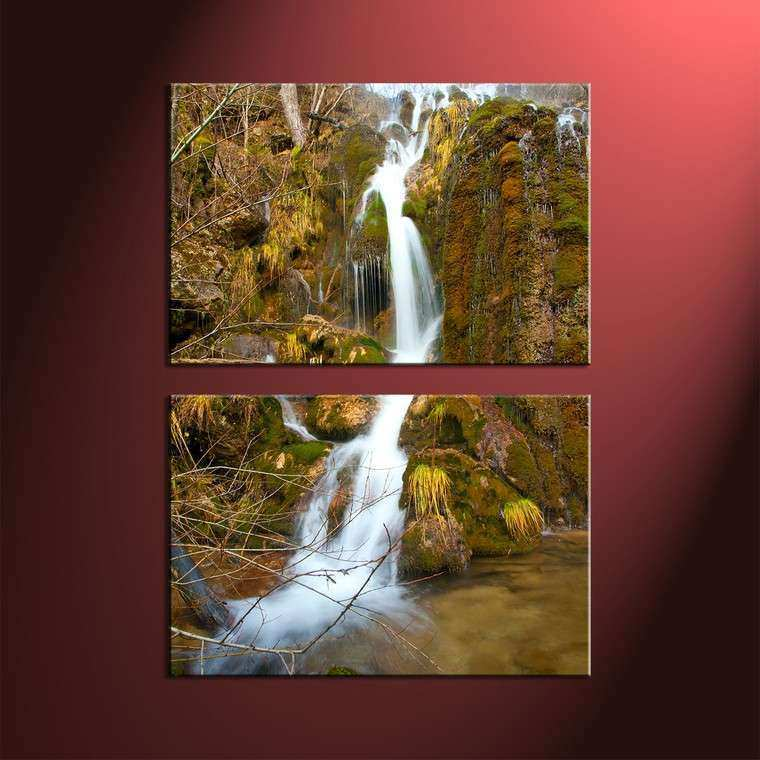 2 Piece Green Scenery Waterfall Wall Art