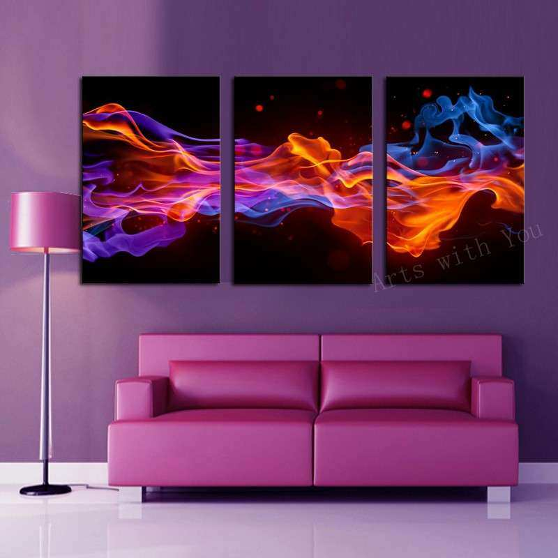 3 Panels Fire Flower HD Canvas Print Painting Artwork