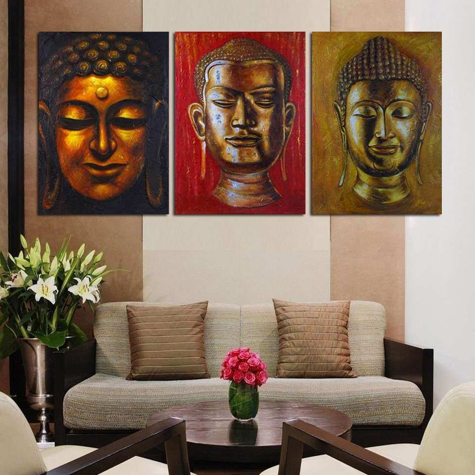 Luxry 3 Panel Wall Art Religion Buddha Oil Style Painting