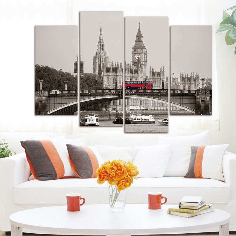 4 Piece London Red Bus Canvas Print Oil Painting Home
