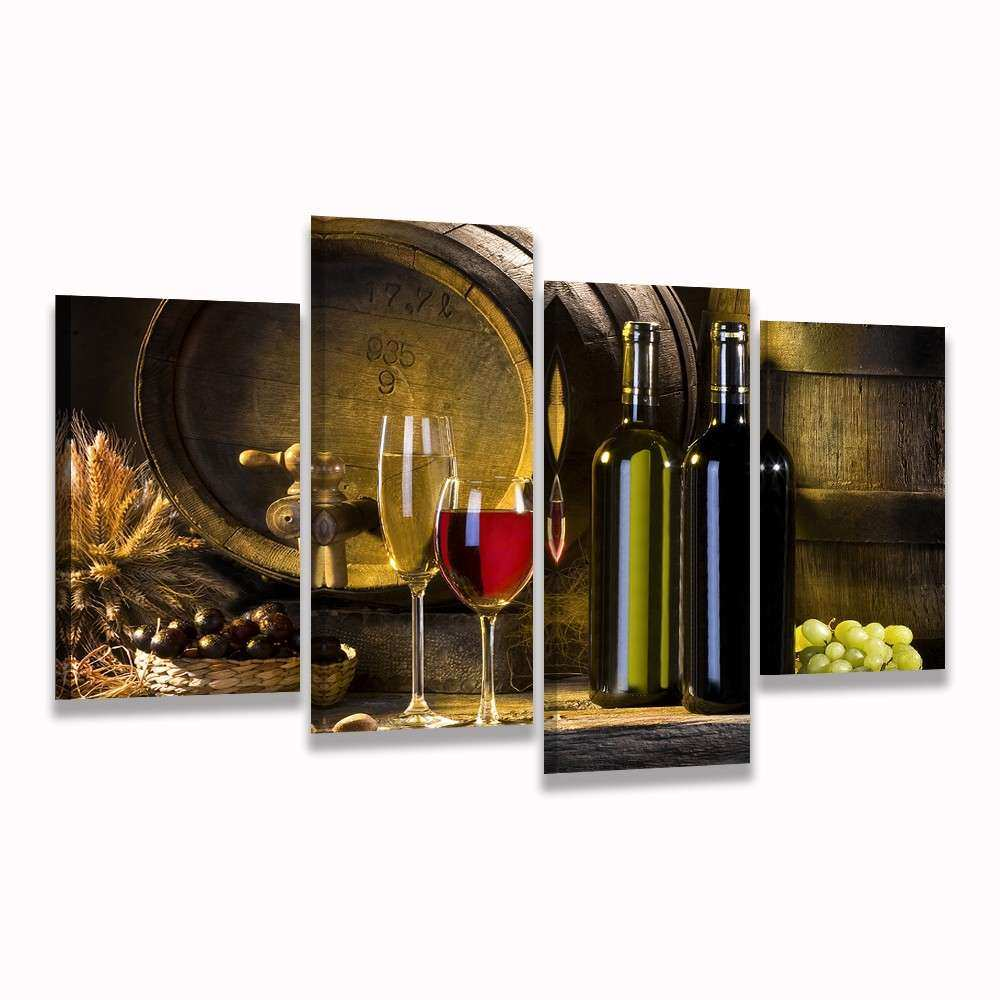 HD Printed 4 piece canvas art grape red wine glass Oak