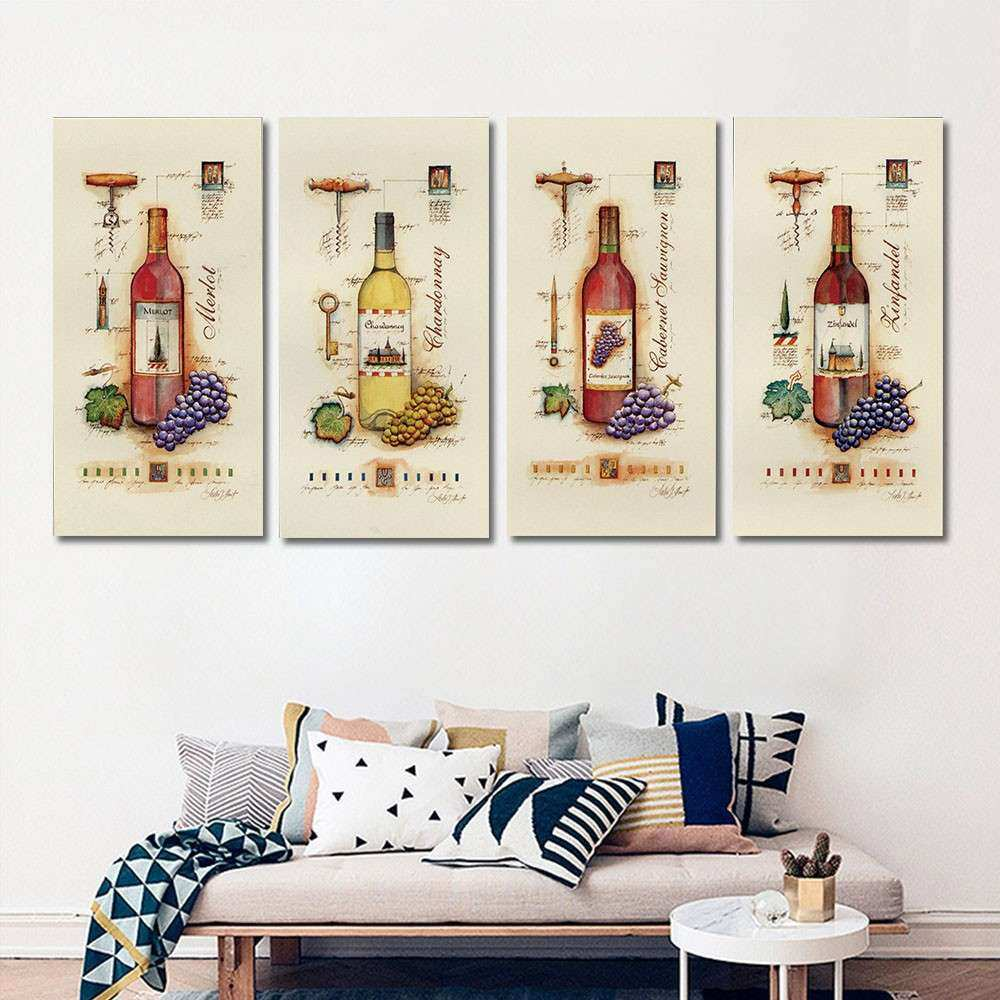 4 Piece Modern Wine Paintings Canvas Bottle Wall Art