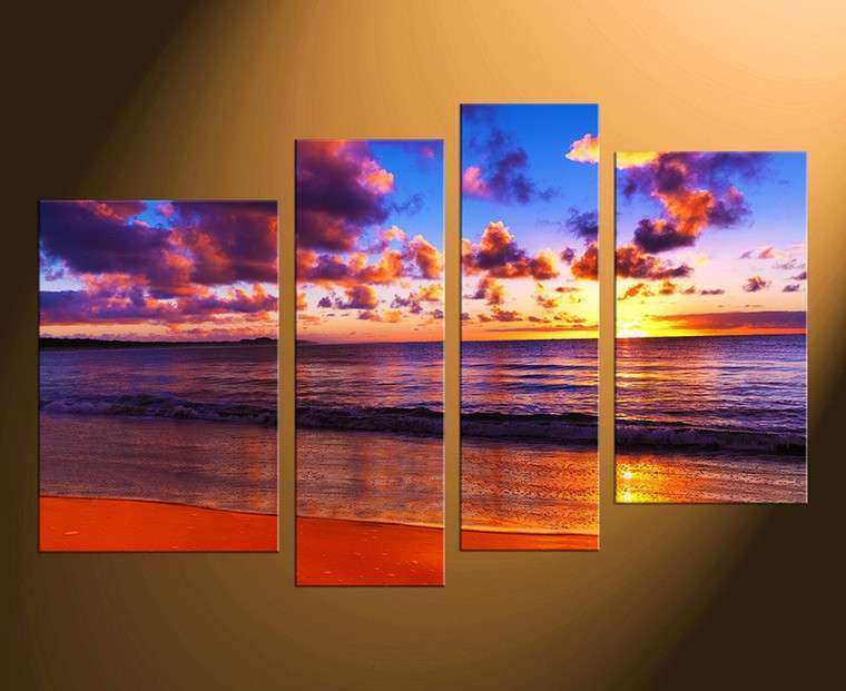 4 Piece Canvas Ocean Multi Panel Art Sea Multi