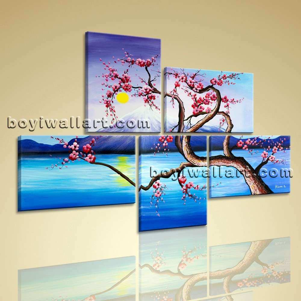 Huge Canvas Giclee Print Modern Abstract Tree 5 Panels