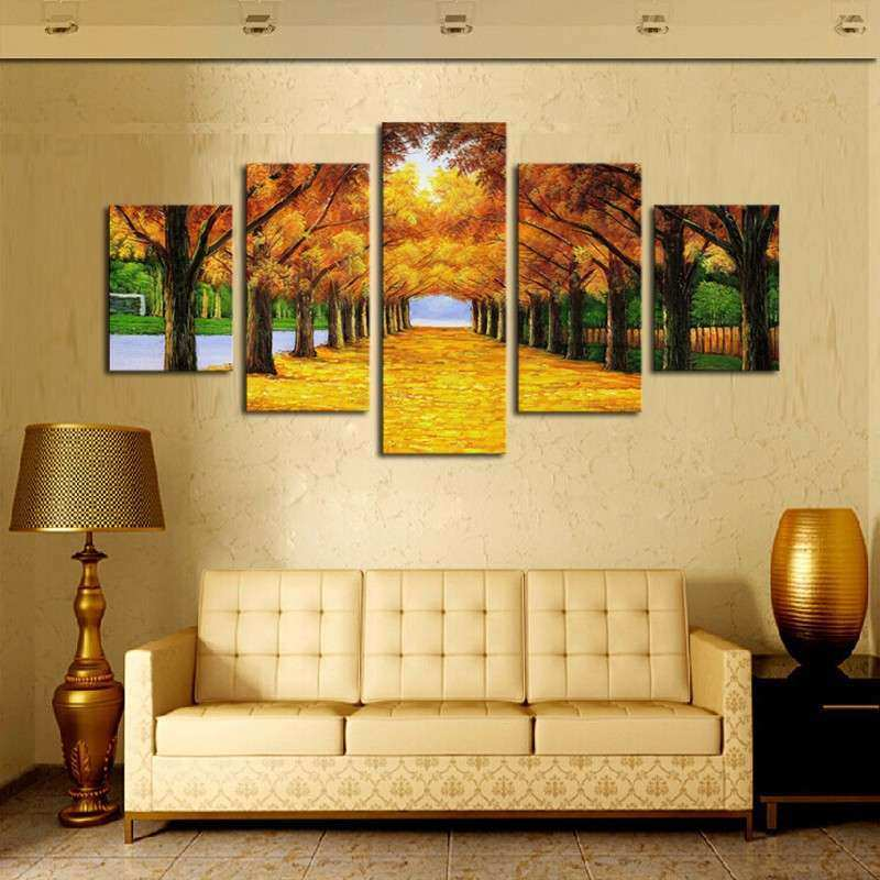 Unframed 5 Panels Nature Yellow GoldenTrees Canvas Print