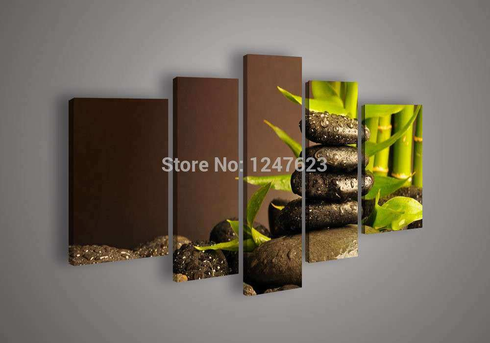5 Panel Wall Art Botanical Bamboo Oil Painting Canvas