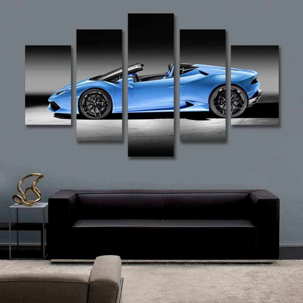 5 Panel Canvas Art Blue Sports Car Picture Painting for
