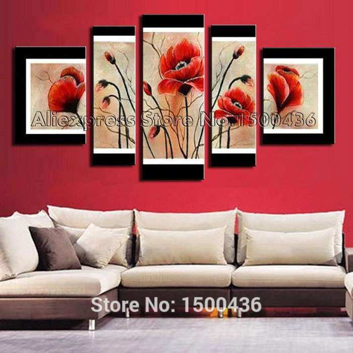 Hand Painted Abstract Red Poppy Canvas Oil Painting
