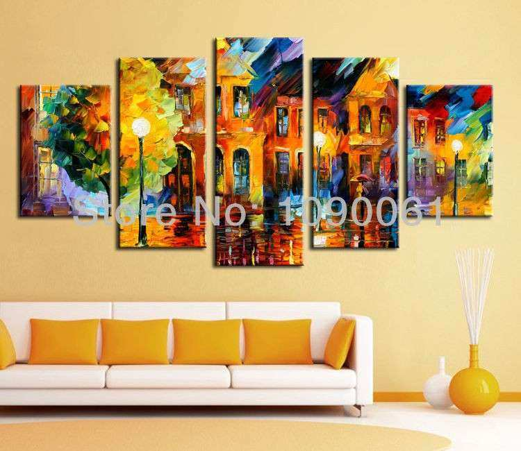 5 Piece Canvas Wall Art Set Luxury Night Street Scene Handmade 5 ...