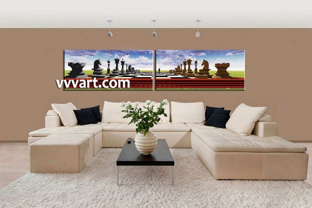 2 Piece Colorful Modern Pawns Canvas Wall Art