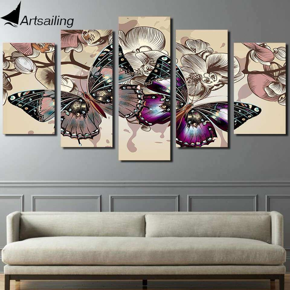 HD Printed 5 piece canvas art abstract flower butterfly