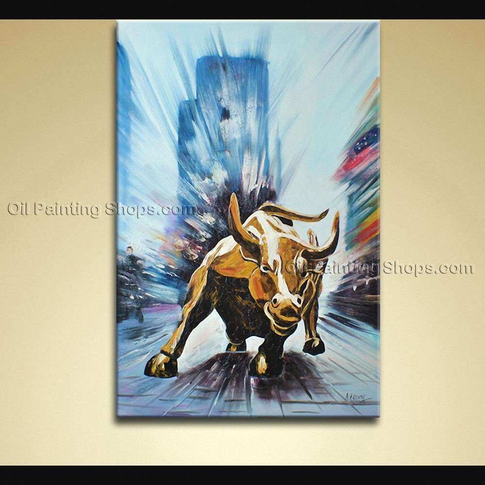 Hand Painted Elegant Modern Abstract Painting Wall Art Wall Street Bull