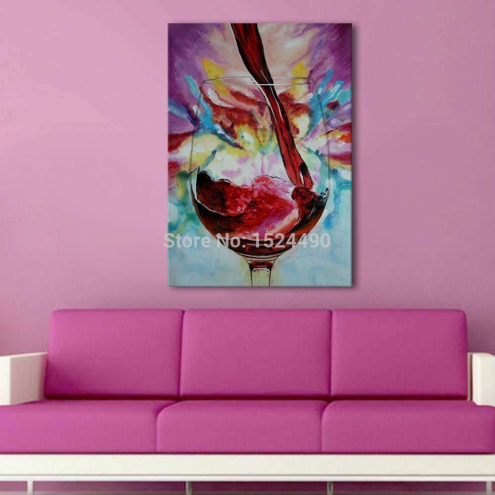 modern wall painting hand painted abstract red wine glass
