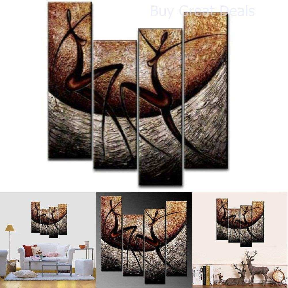4 Piece African Dancers Hand Painted Canvas Stretched and