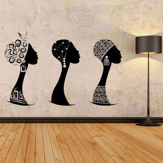 African women wall decal African woman profile wall vinyl Africa wall decal African