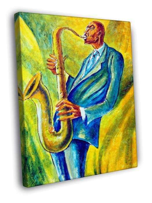 African American Jazz Painting Art Vintage FRAMED CANVAS