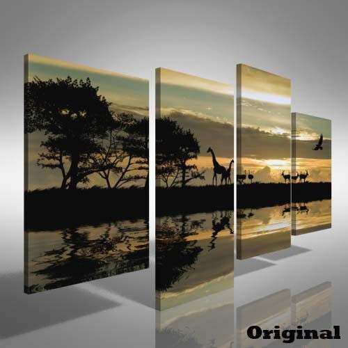 African Animal Sunset fset Canvas Print Picture