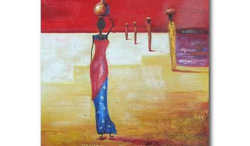 African Canvas Wall Art Elegant African Women Oil Painting Canvas ...