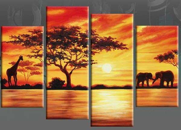African Canvas Wall Art Lovely African Giraffe & Elephants 4 Panel ...