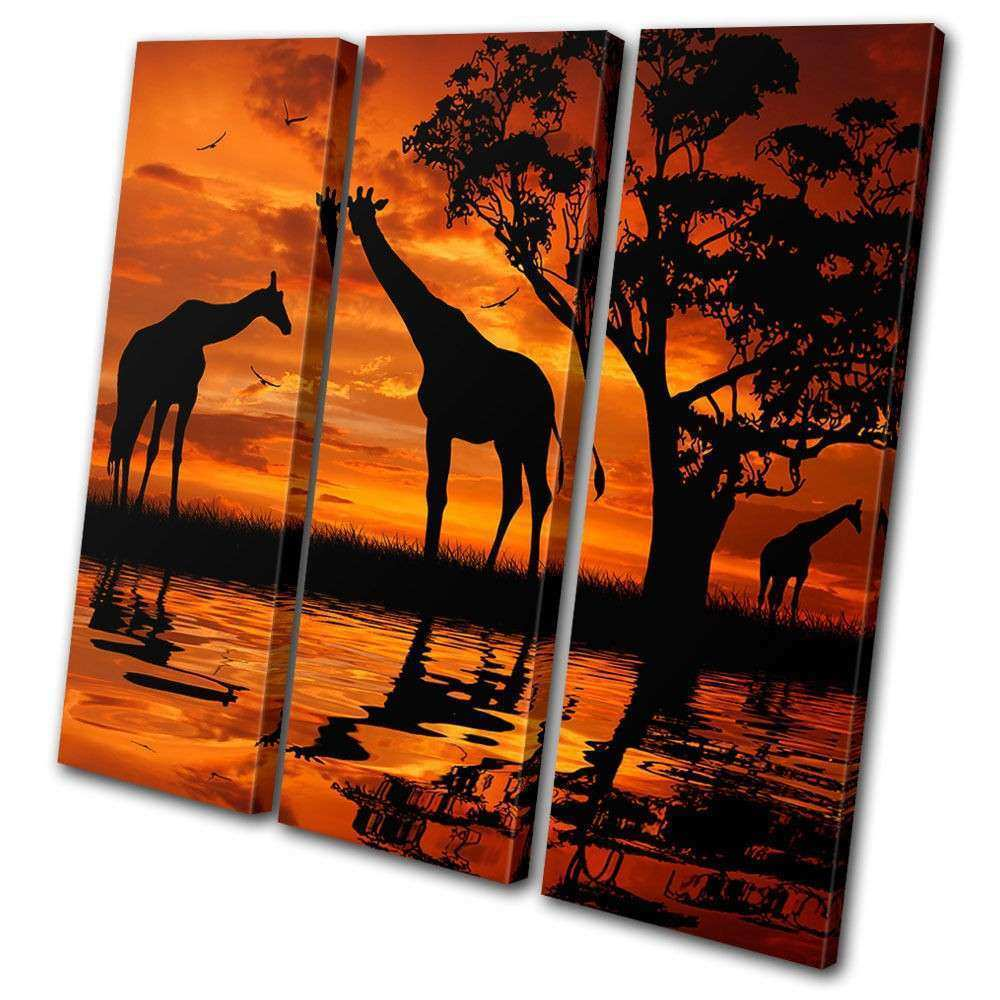 Animals Giraffe African Sunset TREBLE CANVAS WALL ART