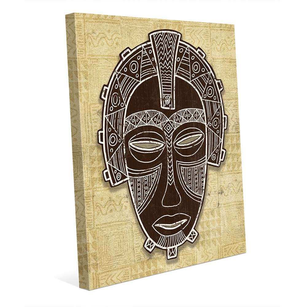 Wall Art African Mask Crown Graphic Art on Wrapped