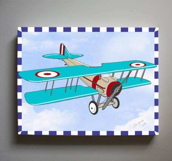 Kids Wall Art Airplane Nursery Art Vintage Airplane
