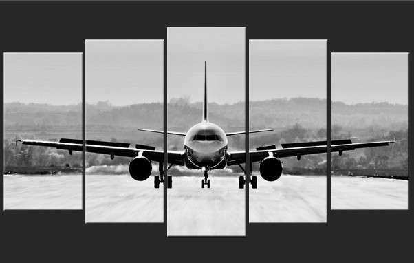 Pentaptych Wall Art Canvas Prints Airplane Black and