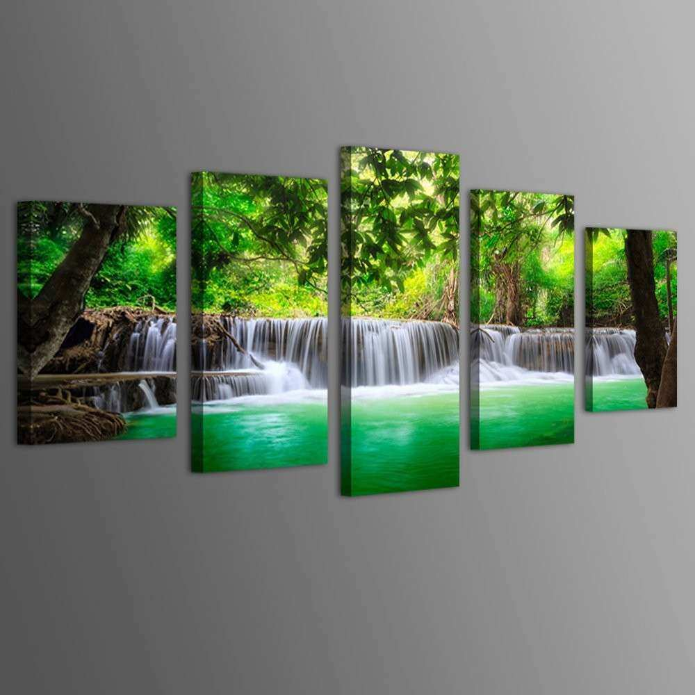 Amazon Wall Art Canvas Beautiful Off Haichuang Decor Art 5 Panels Framed Waterfall