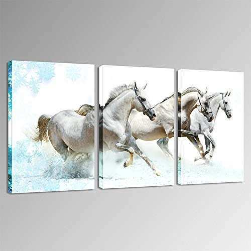 Framed Running White Horses Animals Wall Art Prints