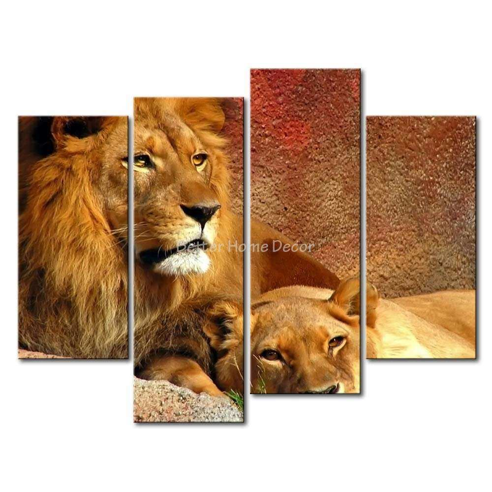 3 Piece Brown Wall Art Painting Relaxing Lions Print
