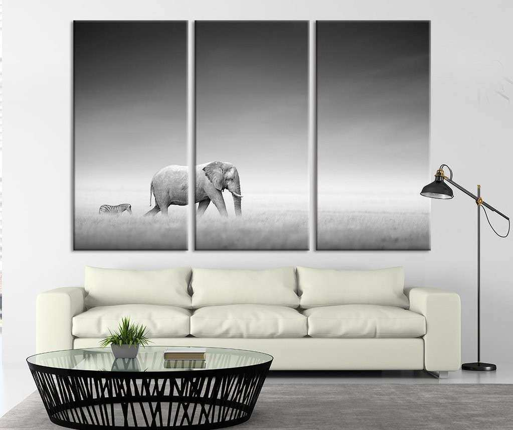 3 Panel Elephant and Zebra Canvas Print Wall Art Animal