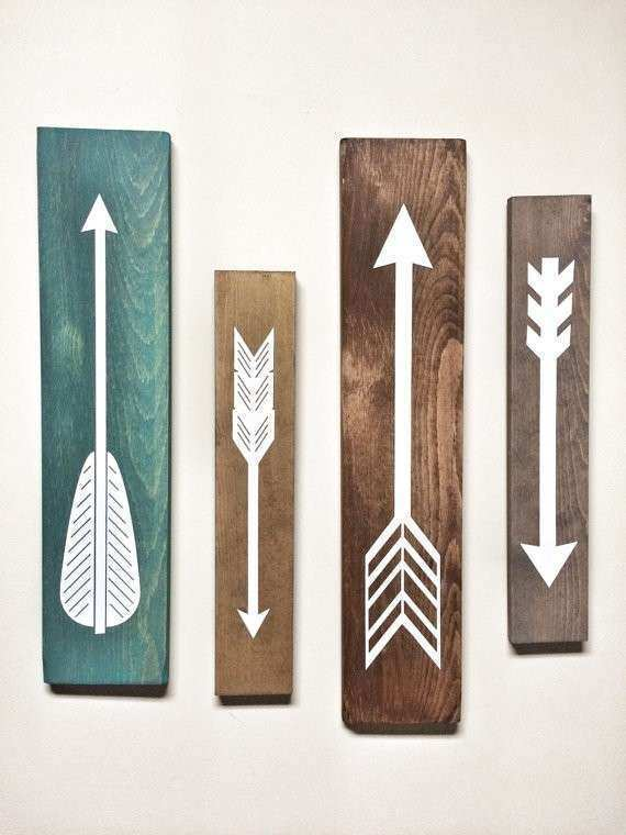 Rustic White Wooden Arrows 4 Piece Set Rustic Decor