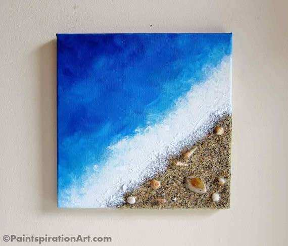 Beach Painting Ocean Decor with Real Sand and Seashells