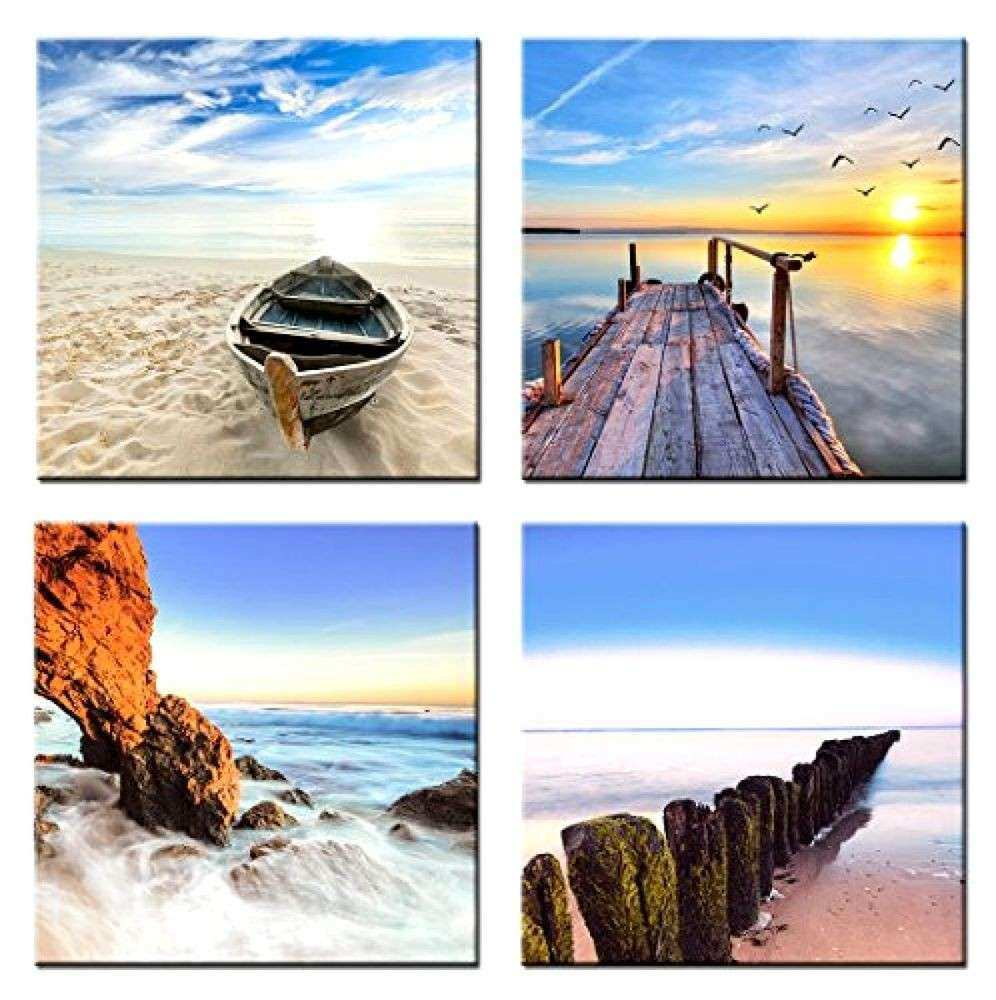 4 Panels Picture Framed Canvas Print Beach Sunset Sea