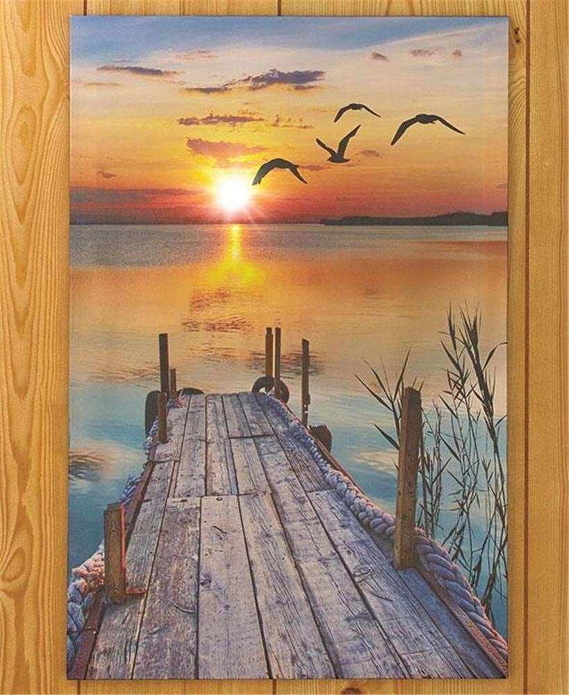 LIGHTED SCENIC CANVAS BEACH LIGHTHOUSE PIER WALL ART