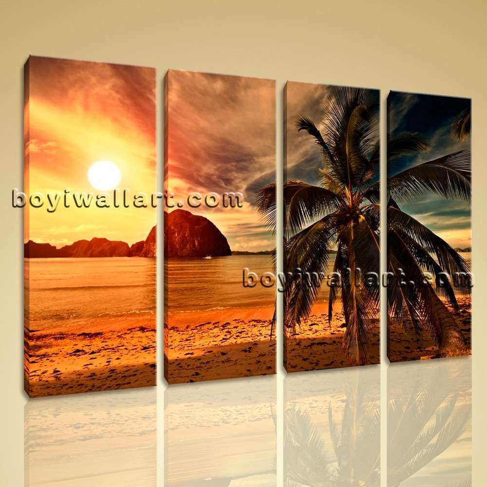 Sunset Landscape Contemporary Beach HD Picture Print