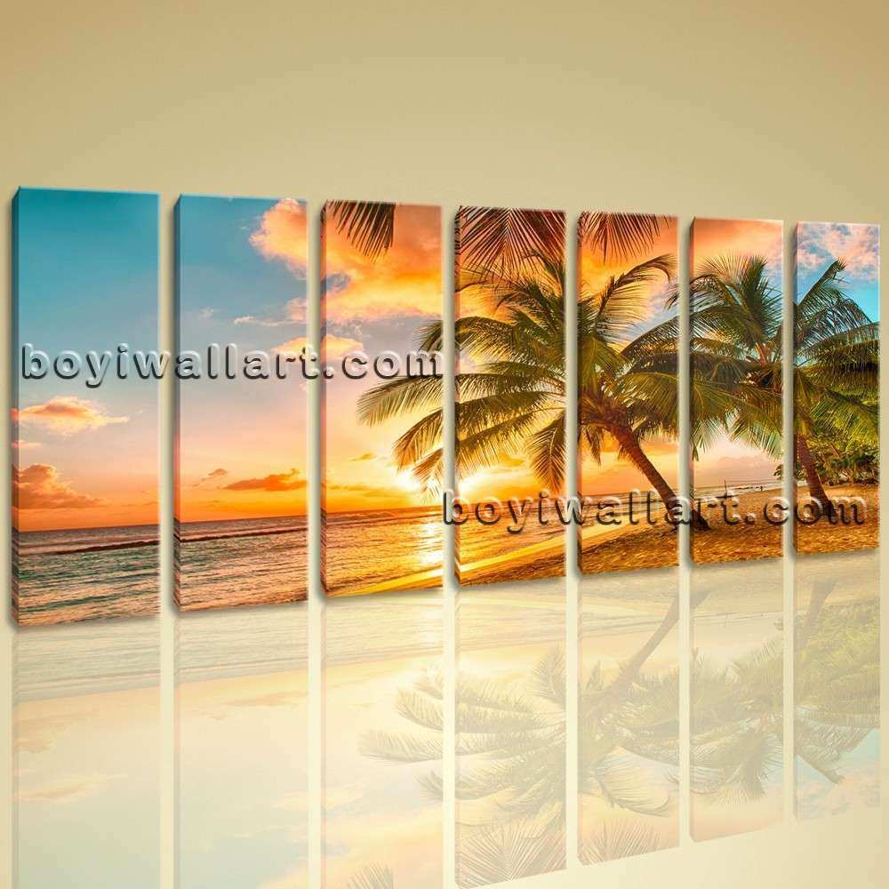 Beach Wall Art Canvas Unique Huge Hd Canvas Print 7 Pieces Framed ...