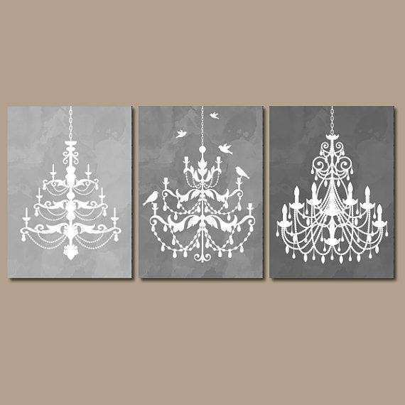 CHANDELIER Wall Art Canvas or Prints Gray from TRM Design