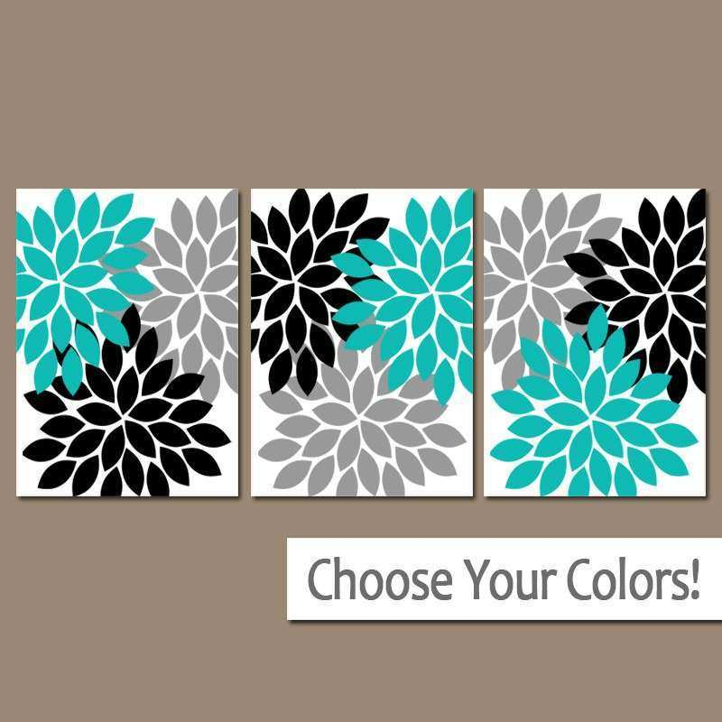 Turquoise Black Gray Wall Art Bedroom Canvas or Prints