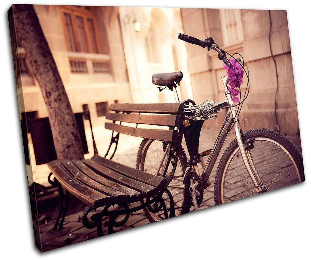 Urban Bicycle Vintage SINGLE CANVAS WALL ART Picture Print