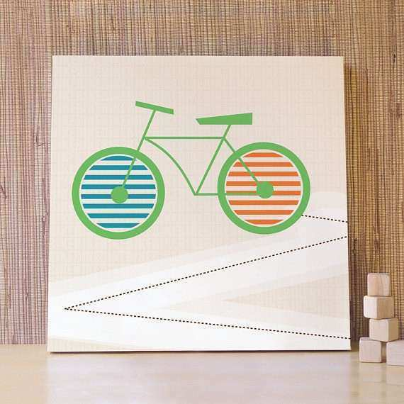 Items similar to Bike Wall Art Bicycle Canvas Green Bike