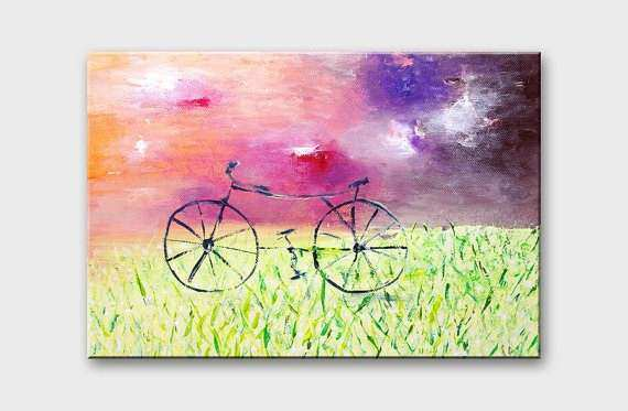 Bicycle art Bicycle Wall art canvas Inspirational art on