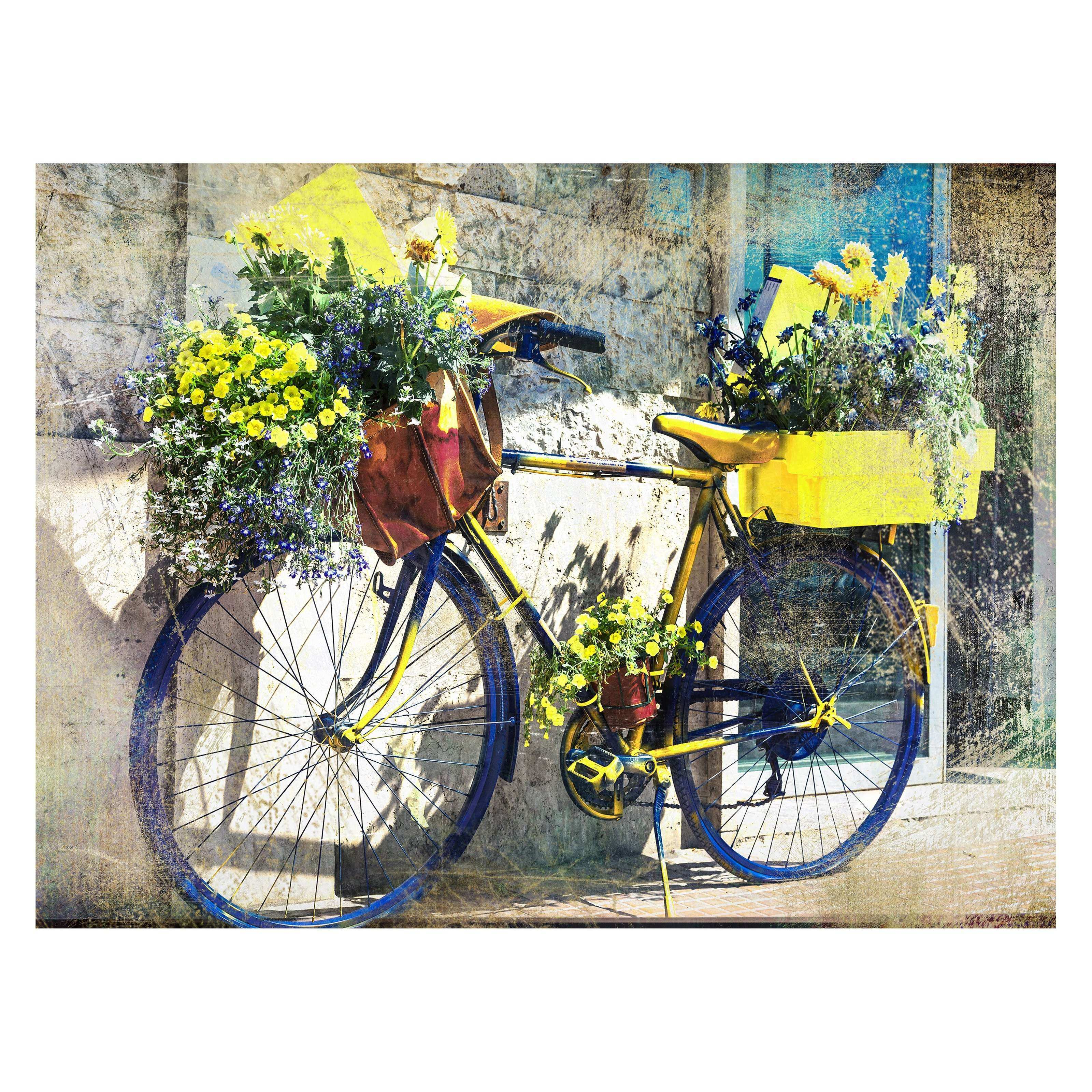West of the Wind Blue & Yellow Bike Outdoor Canvas Wall