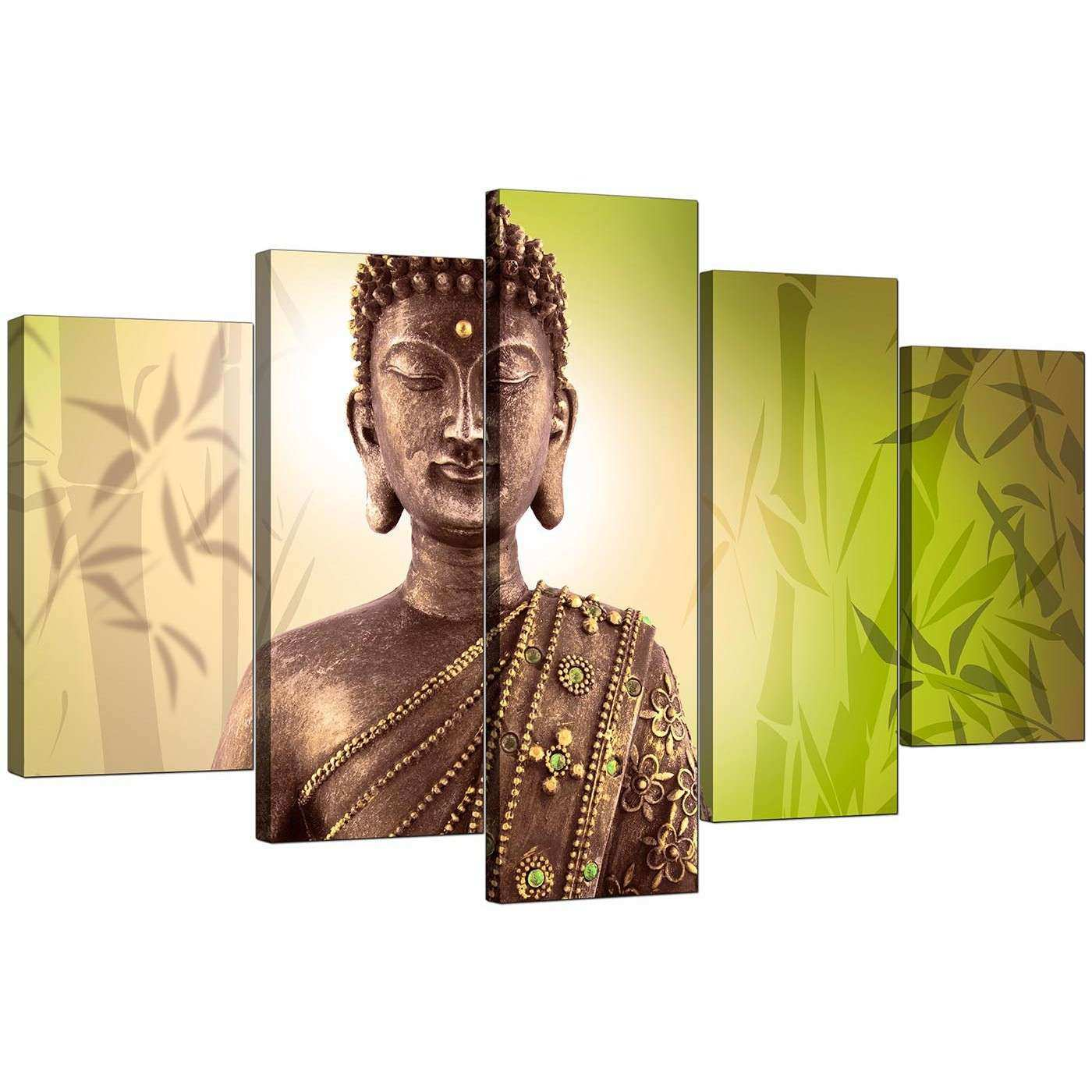 Big Canvas Wall Art Beautiful Extra Buddha Canvas Wall Art 5 Piece ...