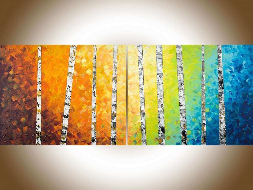 "Autumn Birch Trees by QIQIGallery 60"" x 24"" Original oil"