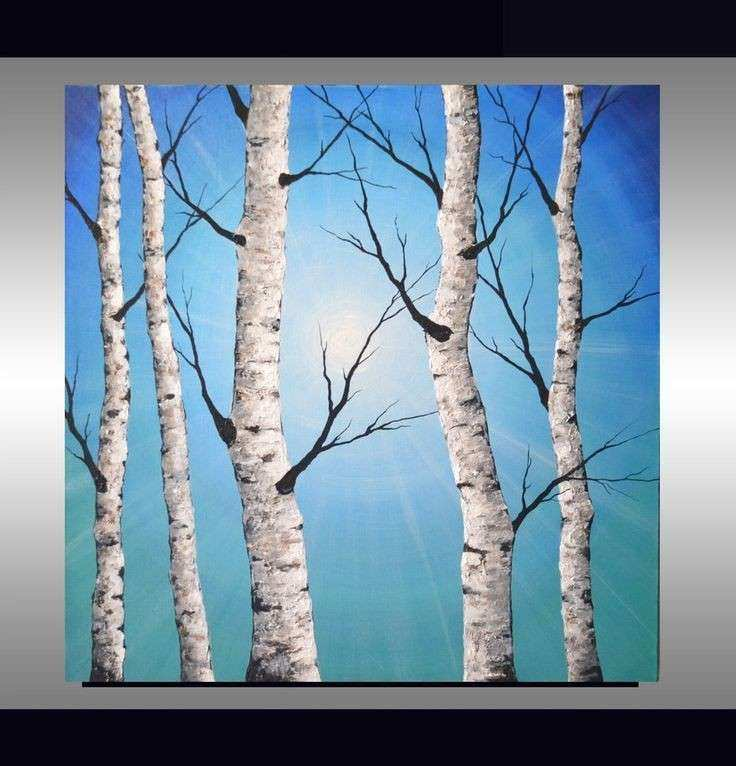 White birch tree on soft blue landscape trending interior