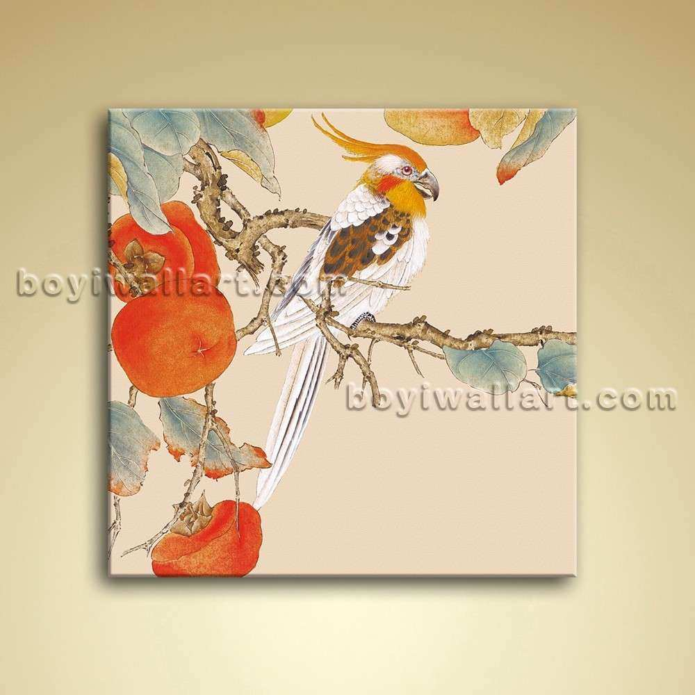 Modern Abstract Floral Painting Bird Tree Oil Canvas Wall