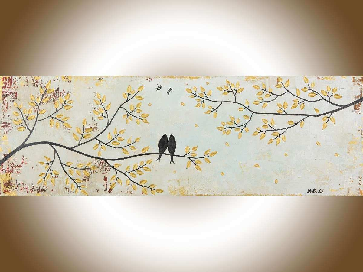 "Vintage Love by QIQIGallery 36"" x 12"" Original Modern"