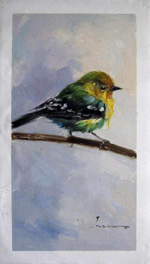 "12"" x 24"" Bird Oil Painting Canvas Art Wall Decor modern"