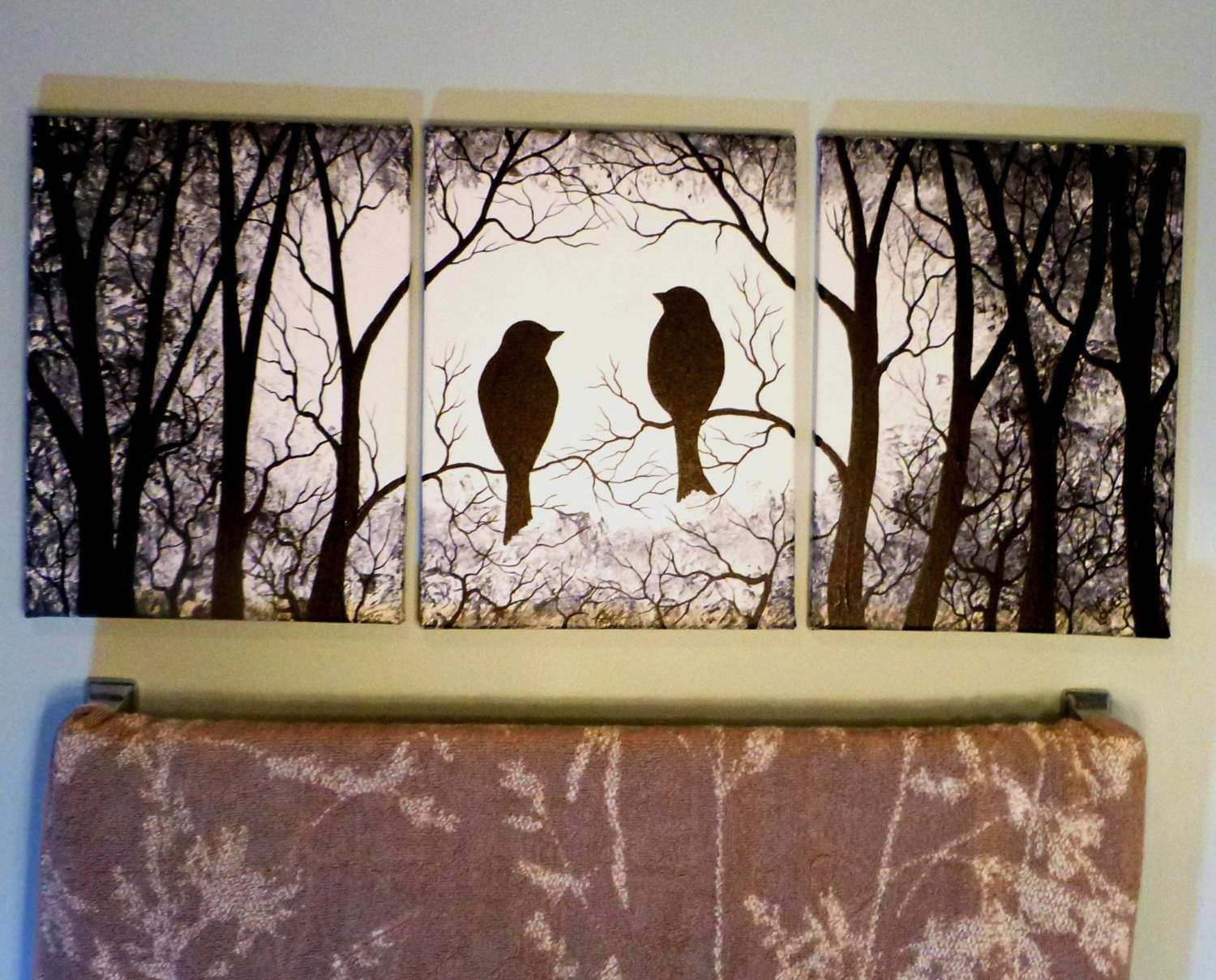 Birds in the Trees Black and White 3 Piece Wall Art Three